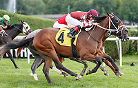 Prioritize (no. 4), ridden by Dylan Davis and trained by H. Bond, wins Race 6 July 29 at Saratoga Racecource, Saratoga Springs, NY.  (Bruce Dudek/Eclipse Sportswire)