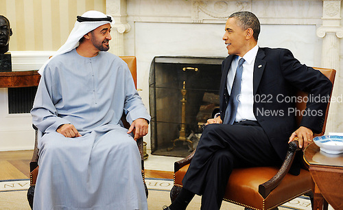 United States President Barack Obama holds a bilateral meeting with Crown Prince Mohammed bin Zayed Al Nahyan of the United Arab Emirates in the Oval Office of the White House on Tuesday, April 26, 2011 in Washington D.C. The President discussed with the Crown Prince the strong ties between the United States and the UAE and their common strategic interests in the region..Credit: Olivier Douliery / Pool via CNP