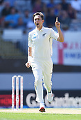 22nd March 2018, Eden Park, Auckland, New Zealand; International Test Cricket, New Zealand versus England, day 1;  Trent Boult celebrates the wicket of Cook