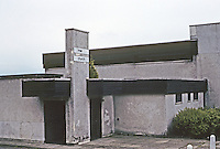 Cumbernauld: Church entrance looks like a bomb shelter. Photo '90.