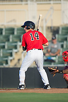 Danny Mendick (14) of the Kannapolis Intimidators at bat against the Lakewood BlueClaws at Kannapolis Intimidators Stadium on August 11, 2016 in Kannapolis, North Carolina.  The Intimidators defeated the BlueClaws 3-1.  (Brian Westerholt/Four Seam Images)