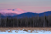 View of Mount Washington covered in snow at sunset from along the Presidential Range Rail Trail (Cohos Trail) at Pondicherry Wildlife Refuge in Jefferson, New Hampshire.
