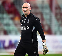 Lincoln City's first team goalkeeping coach Andy Warrington during the pre-match warm-up<br /> <br /> Photographer Andrew Vaughan/CameraSport<br /> <br /> The EFL Sky Bet League Two - Lincoln City v Macclesfield Town - Saturday 30th March 2019 - Sincil Bank - Lincoln<br /> <br /> World Copyright © 2019 CameraSport. All rights reserved. 43 Linden Ave. Countesthorpe. Leicester. England. LE8 5PG - Tel: +44 (0) 116 277 4147 - admin@camerasport.com - www.camerasport.com