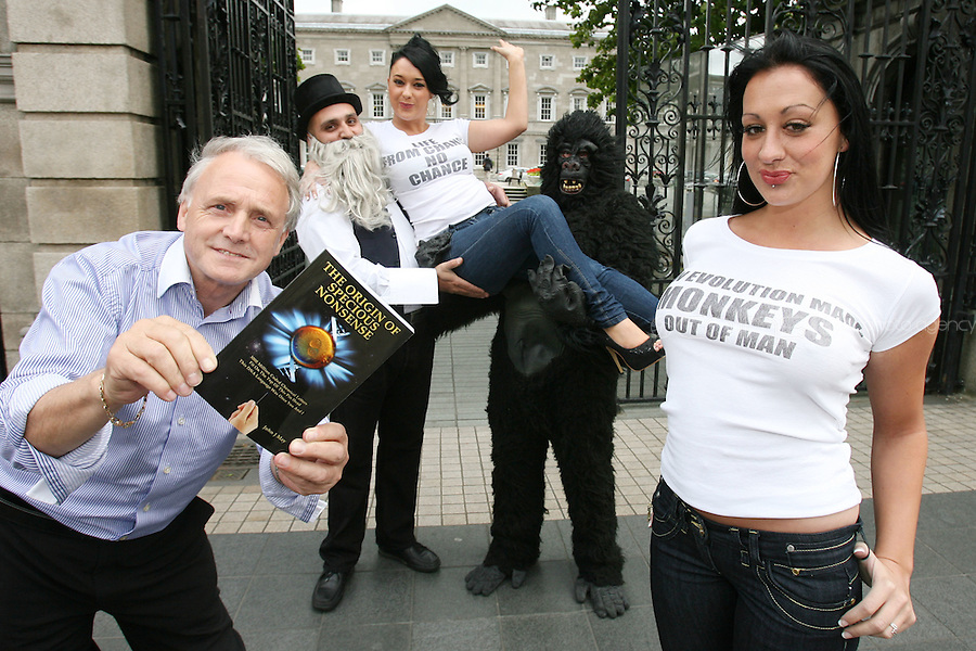 "NO REPRO FEE. 15/9/2010. John J. May launches his controversial book ""The Origin of Specious Nonsense"" outside the Dail in Dublin.  Also pictured are a gorrila, Charles Darwin, Joan Fitzgerald and Janine Clancy. The launch will then commences at 7pm in Buswells hotel where he delivers his talk: ""How evolution made monkeys out of man"" Picture James Horan/Collins Photos"