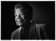 A black and white portrait of famous writer Maya Angelou.