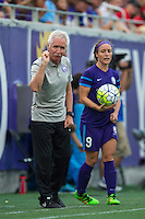 Orlando, FL - Sunday June 26, 2016: Tom Sermanni, Josee Belanger  during a regular season National Women's Soccer League (NWSL) match between the Orlando Pride and the Portland Thorns FC at Camping World Stadium.