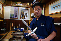 Fukutake Shinichi, sword polisher, Setouchi city, Okayama Prefecture, Japan, February 2, 2014. The city of Bizen in central Japan is famous for Bizen-ware pottery. It is also one of Japan's main traditional sword making regions, home to Osafune sword-makers and polishers.