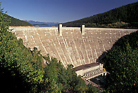 AJ3598, dam, hydroelectric, power, Rocky Mountains, Montana, Hungry Horse Dam in Kalispell in the state of Montana.