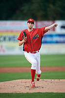 Williamsport Crosscutters starting pitcher Kyle Young (52) delivers a pitch during a game against the Mahoning Valley Scrappers on August 28, 2018 at BB&T Ballpark in Williamsport, Pennsylvania.  Williamsport defeated Mahoning Valley 8-0.  (Mike Janes/Four Seam Images)
