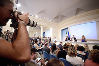 Roma, 1 Settembre 2014.<br /> Palazzo Chigi.<br /> Conferenza stampa di Matteo Renzi sui prossimi mille giorni del Governo e presentazione del sito web passodopopasso.italia.it.<br /> Graziano Delrio, Matteo Renzi e la Ministra Maria Elena Boschi.<br /> Government Renzi: 1000 days and the site passodopopasso.italia.it <br /> Rome, September 1, 2014.<br /> Chigi Palace.<br /> Press Conference of Matteo Renzi on the next one thousand days of Government and presentation of the website passodipopasso.italia.it.<br /> Graziano Delrio, Matteo Renzi and the minister Maria Elena Boschi.