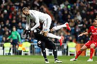 Beto of Sevilla and Benzema of Real Madrid during La Liga match between Real Madrid and Sevilla at Santiago Bernabeu Stadium in Madrid, Spain. February 04, 2015. (ALTERPHOTOS/Caro Marin) /NORTEphoto.com