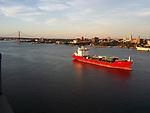 Aerial view of SVEVA Tanker  Along the Delaware River, outside of Philadelphia