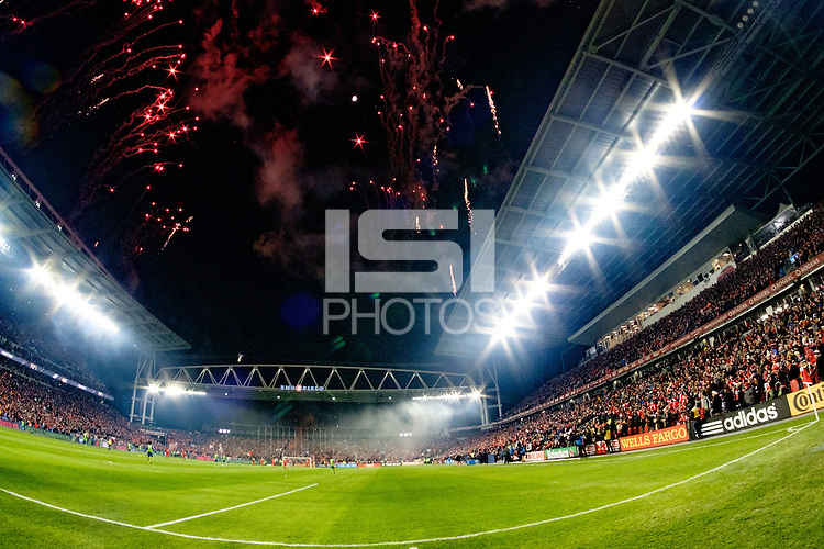 Toronto, ON, Canada - Saturday Dec. 10, 2016: Fireworks prior to the MLS Cup finals at BMO Field. The Seattle Sounders FC defeated Toronto FC on penalty kicks after playing a scoreless game.