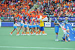 The Hague, Netherlands, June 15: Cheerleaders perform during the field hockey gold match (Men) between Australia and The Netherlands on June 15, 2014 during the World Cup 2014 at Kyocera Stadium in The Hague, Netherlands. Final score 6-1 (2-1)  (Photo by Dirk Markgraf / www.265-images.com) *** Local caption ***
