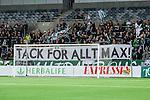 Stockholm 2014-03-04 Fotboll Svenska Cupen Hammarby IF - &Auml;ngelholms FF :  <br /> Hammarby supportrar med en banderoll innan matchen med texten &quot;Tack f&ouml;r allt Max&quot; <br /> (Foto: Kenta J&ouml;nsson) Nyckelord:  HIF Bajen &Auml;ngelholm supporter fans publik supporters banderoll
