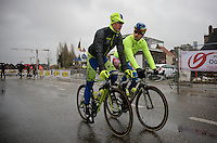 Peter Sagan (SVK/Tinkoff-Saxo) &amp; Matti Breschel (DEN/Tinkoff-Saxo) on their way to a rainy start (in Deinze)<br /> <br /> 77th Gent-Wevelgem 2015