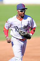 Roman Quinn (4) of the Reading Fightin Phils during a game versus the Portland Sea Dogs at Hadlock Field in Portland, Maine on May 23, 2015.  (Ken Babbitt/Four Seam Images)