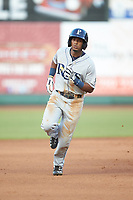 Wander Franco (6) of the Princeton Rays rounds the bases after hitting a home run against the Pulaski Yankees at Calfee Park on July 14, 2018 in Pulaski, Virginia. The Rays defeated the Yankees 13-1.  (Brian Westerholt/Four Seam Images)
