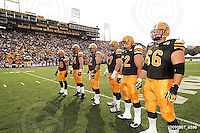 September 7, 2009; Hamilton, ON, CAN; Hamilton Tiger-Cats wide receiver Dave Stala (88) offensive lineman Dan Goodspeed (64) offensive lineman Marwan Hage (62) offensive lineman Peter Dyakowski (67) offensive lineman George Hudson (52) offensive lineman Alexandre Gauthier (66). CFL football - the Labour Day Classic - Toronto Argonauts vs. Hamilton Tiger-Cats at Ivor Wynne Stadium. The Tiger-Cats defeated the Argos 34-15. Mandatory Credit: Ron Scheffler.