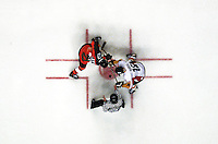 PICTURE BY BEN DUFFY/SWPIX - ICE HOCKEY PREM FINAL.JEFF HOAD (LEFT) AND ERIC DUBOIS FACE OFF IN THE ICE HOCKEY FINAL.