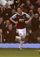 Pictured:  Kevin Nolan of West Ham celebrating his opening goal. 01 February 2014<br />