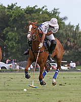 WELLINGTON, FL - APRIL 25:  Diego Cavanagh of Valiente controls the ball as he takes it towards the goal, as Valiente defeats Orchard Hill 13-12, in OT,  in the US Open Polo Championship Final, to win the U. S. Polo Triple Crown, at the International Polo Club Palm Beach, on April 25, 2017 in Wellington, Florida. (Photo by Liz Lamont/Eclipse Sportswire/Getty Images)