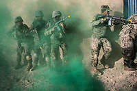 Soldiers of the Afghan National Army (ANA) are training in the Special Forces Commando base in the outskirt of Kabul. This exercices consist on an ambush on the ennemies, Kabul, Afghanistan, 4th November 2017.<br /> <br /> Des soldats de l'armée nationale afghane (ANA) s'entraînent dans la base du commando des forces spéciales dans la banlieue de Kaboul. Cet exercice consiste à une ambuscade de l'ennemi, Kaboul, Afghanistan, le 4 novembre 2017.