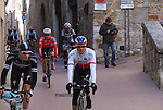 Riders including Zdenek Stybar (CZE) Etixx-Quick Step make their way to sign on before the start of the Strade Bianche Eroica Pro 2015 cycle race 200km over the white gravel roads from San Gimignano to Siena, Tuscany, Italy. 8th March 2015<br /> Photo: Otto de Waele/www.newsfile.ie