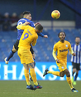 Preston North End's Louis Moult jumps with Sheffield Wednesday's Joey Pelupessy   <br /> <br /> Photographer Mick Walker/CameraSport<br /> <br /> The EFL Sky Bet Championship - Sheffield Wednesday v Preston North End - Saturday 22nd December 2018 - Hillsborough - Sheffield<br /> <br /> World Copyright &copy; 2018 CameraSport. All rights reserved. 43 Linden Ave. Countesthorpe. Leicester. England. LE8 5PG - Tel: +44 (0) 116 277 4147 - admin@camerasport.com - www.camerasport.com
