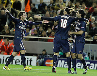 Paris Saint-Germain's Maxwell (l), Zlatan Ibrahimovic (c) and Javier Pastore celebrate goal during Champions League 2012/2013 match.February 12,2013. (ALTERPHOTOS/Acero) /NortePhoto