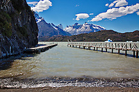 The boat docks extend into Lago Grey at Torres Del Paine, Chile. Los Cuernos (The Horns) are seen in the background.
