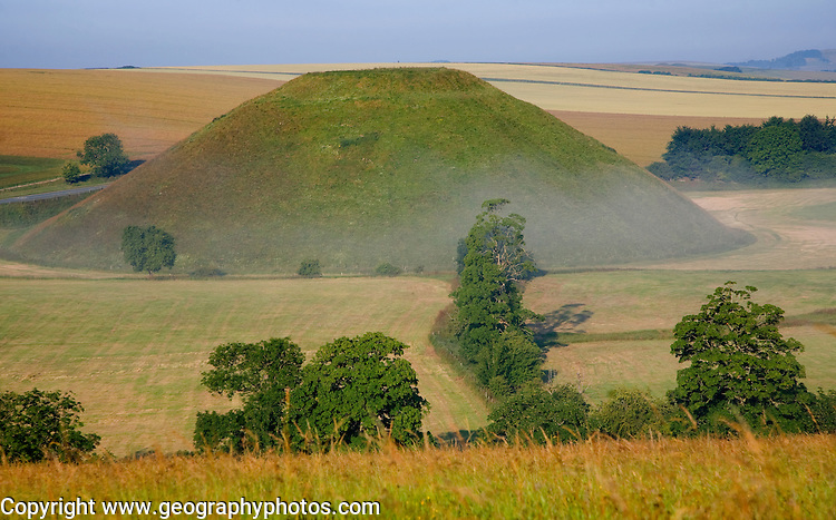 Silbury Hill is the largest man made prehistoric structure In Europe, near Avebury, Wiltshire, England