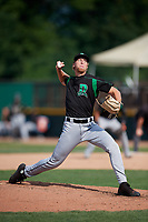 Dayton Dragons relief pitcher John Ghyzel (18) delivers a pitch during a game against the Beloit Snappers on July 22, 2018 at Pohlman Field in Beloit, Wisconsin.  Dayton defeated Beloit 2-1.  (Mike Janes/Four Seam Images)