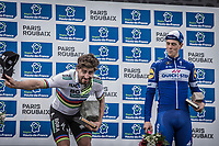 The Paris Roubaix 2018 podium:<br /> <br /> Race winner & World Champion Peter Sagan (SVK/Bora Hansgrohe) entertaing the crowd with 3rd finisher Niki Terpstra (NED/Quick Step Floors) standing by...<br /> <br /> 116th Paris-Roubaix (1.UWT)<br /> 1 Day Race. Compiègne - Roubaix (257km)