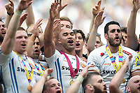 "Olly Woodburn and the rest of the Exeter Chiefs players perform the ""Tomahawk Chop"" with supporters in the crowd after the match. Aviva Premiership Final, between Wasps and Exeter Chiefs on May 27, 2017 at Twickenham Stadium in London, England. Photo by: Patrick Khachfe / JMP"