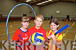 Having fun at the multi-sports summer camp in Moyvane sports hall on Friday were: Keira Large, Sean Thompson and Mary Kearney.