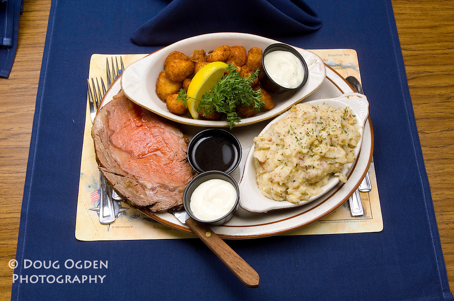 Sea Galley Food assignment shot on site. Steak, Scallops and Mashed Potatoes