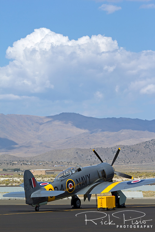 The Bristol Centaurus powered Hawker Sea Fury 924 sits on the ramp at Stead Field during the 2013 National Championship Air Races.