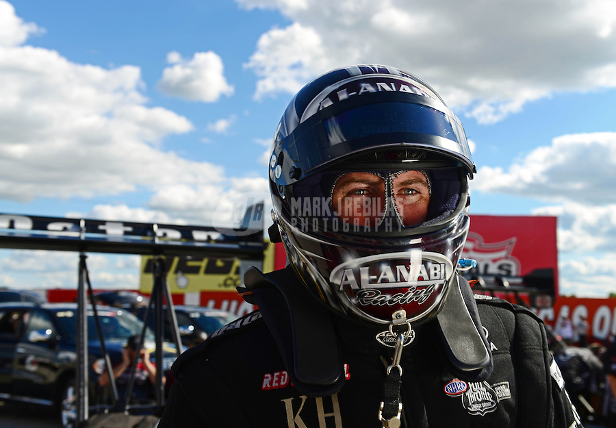 Sept 8, 2012; Clermont, IN, USA: NHRA top fuel dragster driver Shawn Langdon during qualifying for the US Nationals at Lucas Oil Raceway. Mandatory Credit: Mark J. Rebilas-