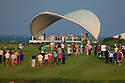 Spectators on the 18th fairway, European Challenge Tour, National Bank of Oman Golf Classic 2014, Almouj Golf, The Wave, Muscat, Oman. (Picture Credit / Phil Inglis)