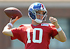 Eli Manning #10, New York Giants starting quarterback, throws a pass during practice at Quest Diagnostics Training Center in East Rutherford, NJ on Monday, Aug. 29, 2016.