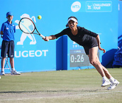 June 15th 2017, Nottingham, England;WTA Aegon Nottingham Open Tennis Tournament day 6;  Su-Wei Hsieh of Taipei reaches for  forehand in her match against Lucie Safarova of Czech Republic