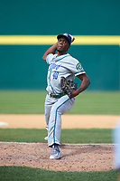 Hartford Yard Goats relief pitcher Huascar Brazoban (40) delivers a pitch during a game against the Binghamton Rumble Ponies on July 9, 2017 at NYSEG Stadium in Binghamton, New York.  Hartford defeated Binghamton 7-3.  (Mike Janes/Four Seam Images)