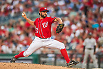 29 July 2017: Washington Nationals pitcher Tanner Roark on the mound against the Colorado Rockies at Nationals Park in Washington, DC. The Rockies defeated the Nationals 4-2 in the first game of their 3-game weekend series. Mandatory Credit: Ed Wolfstein Photo *** RAW (NEF) Image File Available ***