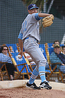 Michael Montgomery of the Wilmington Blue Rocks warming up before pitching against the Myrtle Beach Pelicans on April 8, 2010  in Myrtle Beach, SC.