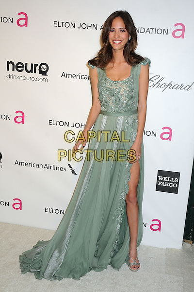 Kelsey Chow.21st Annual Elton John Academy Awards Viewing Party held at West Hollywood Park, West Hollywood, California, USA..February 24th, 2013.oscars full length green lace dress slit split beads beaded .CAP/ADM/BP.©Byron Purvis/AdMedia/Capital Pictures.