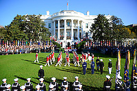 United States President Barack Obama host an arrival ceremony at the start of an Official Visit in honor of Prime Minister Matteo Renzi and Mrs. Agnese Landini of Italy on the South Lawn of the the White House in Washington, DC on Tuesday, October 18, 2016. <br /> Credit: Ron Sachs / CNP /MediaPunch