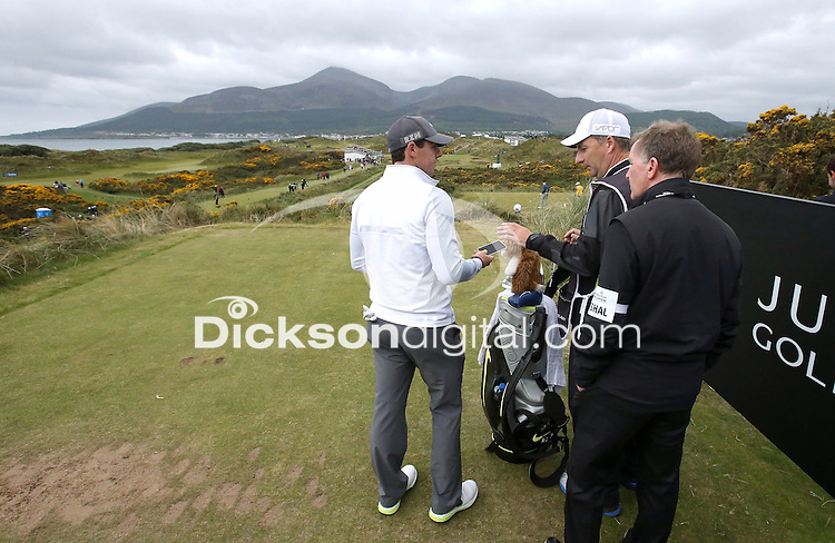27 May 2015; Rory McIlroy, caddie J.P. Fitzgerald and coach Michael Bannon on the 4th tee.<br /> <br /> Dubai Duty Free Irish Open Golf Championship 2015, Pro-Am. Royal County Down Golf Club, Co. Down. Picture credit: John Dickson / DICKSONDIGITAL