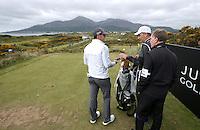 27 May 2015; Rory McIlroy, caddie J.P. Fitzgerald and coach Michael Bannon on the 4th tee.<br /> <br /> Dubai Duty Free Irish Open Golf Championship 2015, Pro-Am. Royal County Down Golf Club, Co. Down. Picture credit: John Dickson / DICKSONDIGITAL