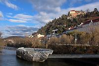 Schlossberg und Murinsel in Graz, Steiermark, &Ouml;sterreich<br /> Castle hill and island in the Mur, Graz, Styria, Austria